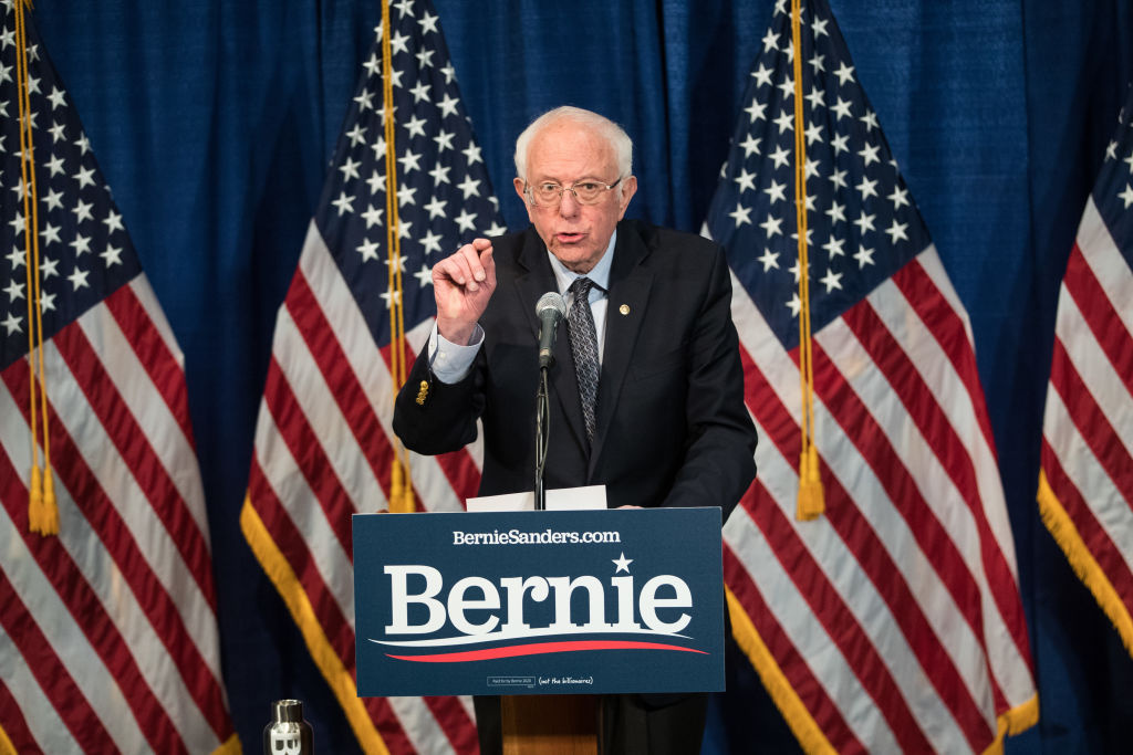 Democratic presidential candidate Sen. Bernie Sanders (I-VT) delivers a campaign update at the Hotel Vermont on March 11, 2020 in Burlington, Vermont.