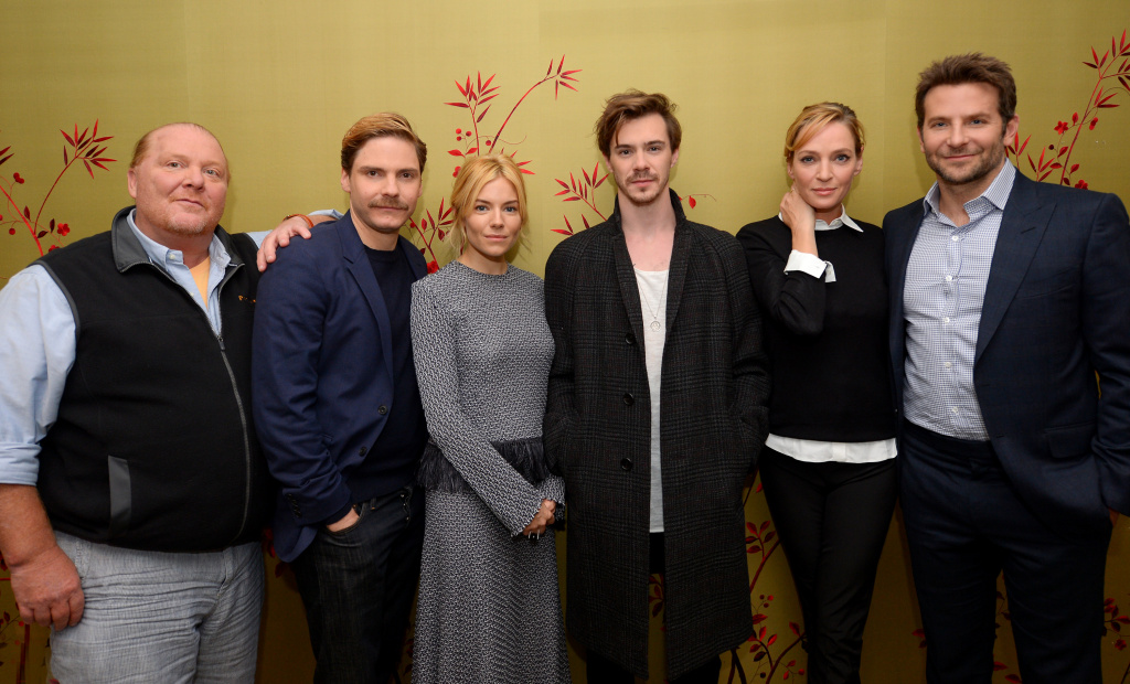 (L-R) Mario Batali, Daniel Bruhl, Sienna Miller, Sam Keeley, Uma Thurman and Bradley Cooper attend the