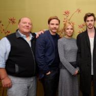 "(L-R) Mario Batali, Daniel Bruhl, Sienna Miller, Sam Keeley, Uma Thurman and Bradley Cooper attend the ""BURNT"" New York Press Conference at The London Hotel on October 20, 2015 in New York City."
