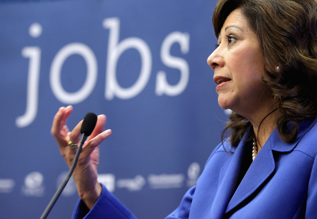 Current L.A. County Supervisor and former U.S. Labor Secretary Hilda Solis speaking at a conference in 2011