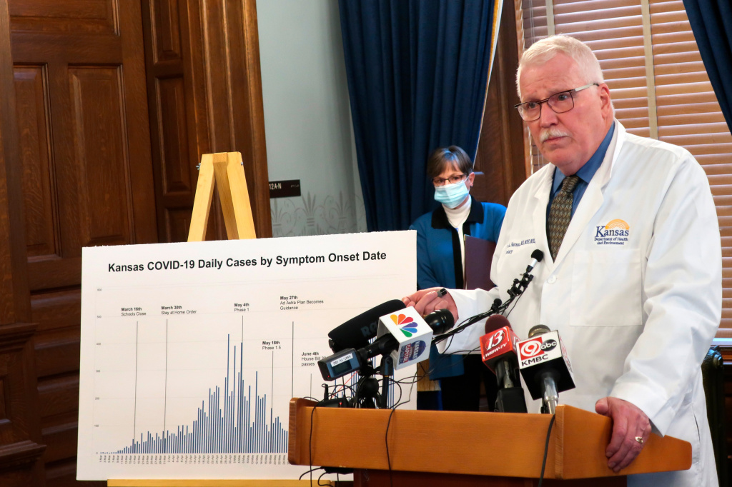New federal rules for reporting data have caused confusion and delays for state officials trying to monitor the pandemic. Dr. Lee Norman, Secretary of the Kansas Department of Health and Environment, discussed the resurgence in coronavirus cases in Kansas on July 15 in Topeka. Norman called the resurgence