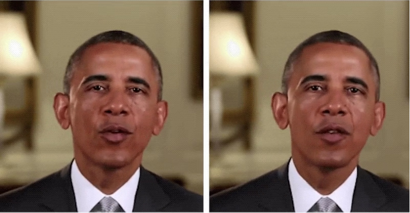 A deepfake rendition of former President Obama compared to a real photo.
