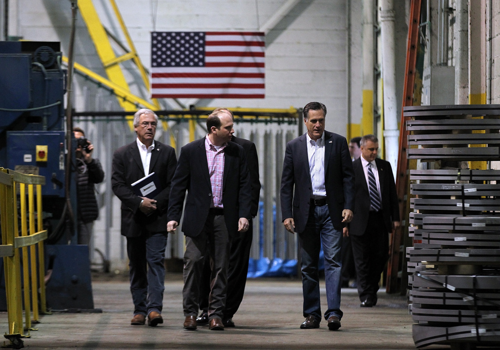 Republican presidential candidate, former Massachusetts Gov. Mitt Romney (R) tours a manufacturing facility following a campaign rally at American Posts on February 29, 2012 in Toledo, Ohio. A day after winning the Michigan and Arizona primaries, Mitt Romney is campaigning in Ohio ahead of Super Tuesday.