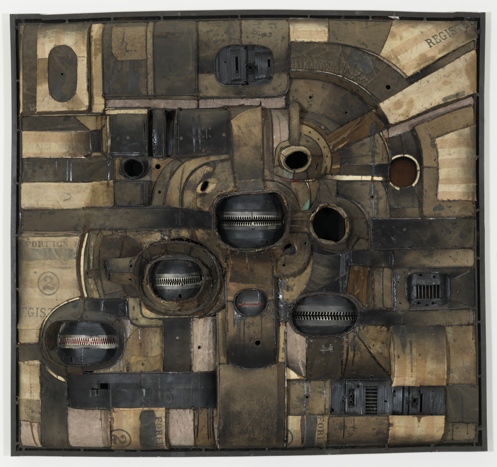 "Lee Bontecou's ""Untitled 1962"" is welded steel, canvas, and wire."