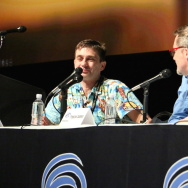 "Previsualization and postvisualization supervisor Clint Reagan with ""Logan"" production designer François Audouy, discussing the making of the film ""Logan"" at WonderCon on Friday, March 31, 2017."