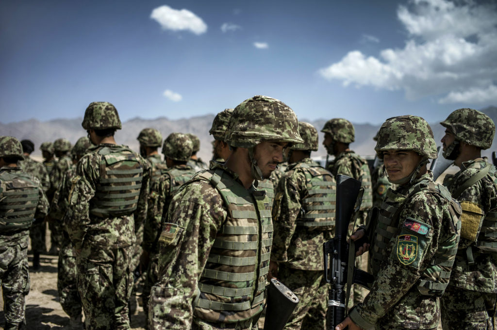 Afghan National Army (ANA) soldiers take part in an exercise under the supervision of French soldiers, on September 25, 2012, in Kabul. France is the fifth largest contributor to NATO's International Security Assistance Force (ISAF), which is due to pull out the vast majority of its 130,000 troops by the end of 2014.