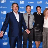"(L-R) Director Oliver Stone, actors Joseph Gordon-Levitt, Shailene Woodley, Melissa Leo and Zachary Quinto attend ""Snowden"" press conference during the 2016 Toronto International Film Festival at TIFF Bell Lightbox."
