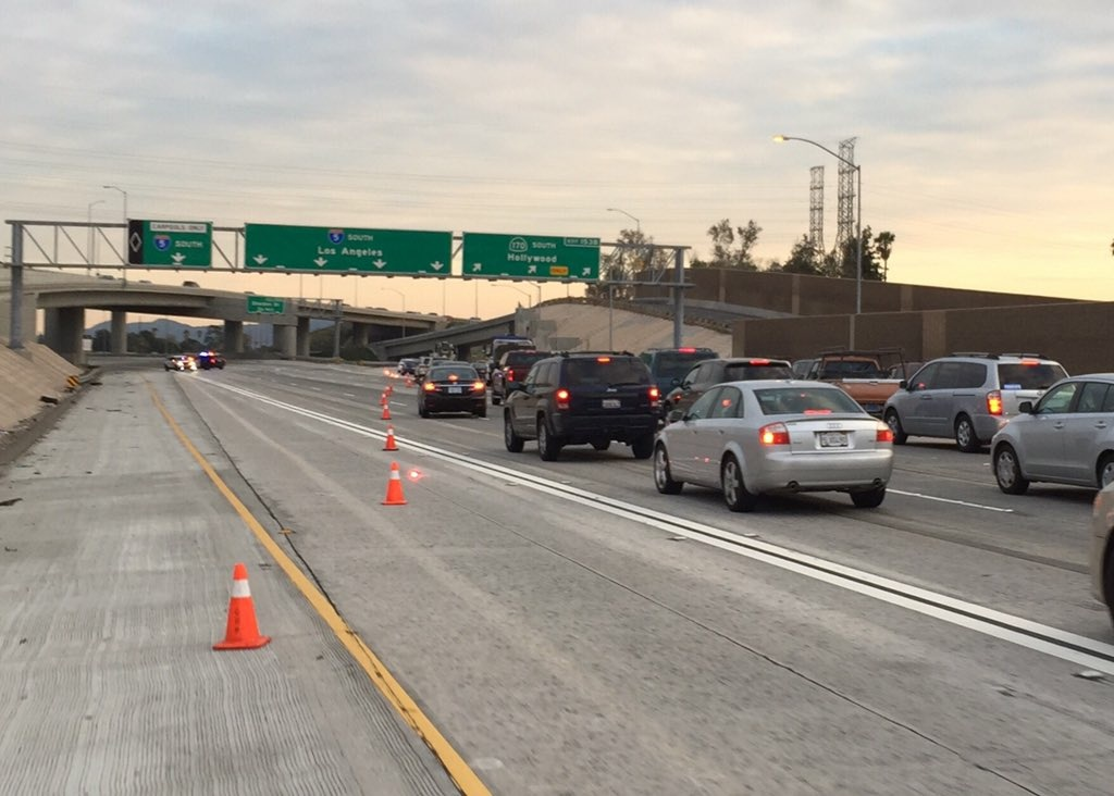 Cars being diverted from the Interstate 5 freeway due to a closure due to LAPD activity on Monday, Jan. 4, 2016.
