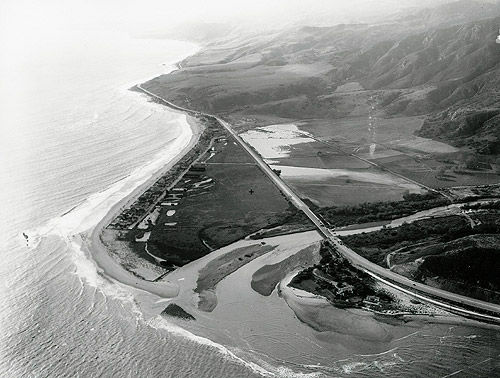 A view of the Malibu Lagoon after a 1938 flood.
