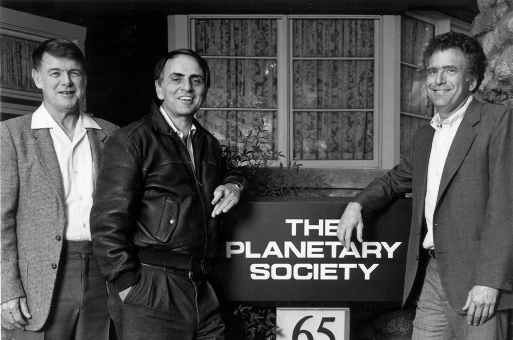 The Planetary Society founders Carl Sagan, Bruce Murray, and Louis Friedman.