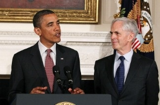 President Barack Obama stands with John Bryson after nominating Bryson to be the next Commerce Secretary, on May 31, 2011 in Washington, D.C. Bryson has now been confirmed by the Senate.