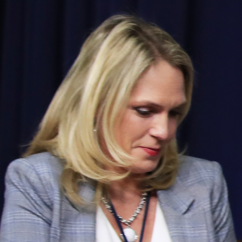 Kelly Sadler, shown in March, is no longer employed as a special assistant to President Trump. Last month, after Sen. John McCain urged senators to vote against Gina Haspel's nomination to head the CIA, Sadler reportedly said,