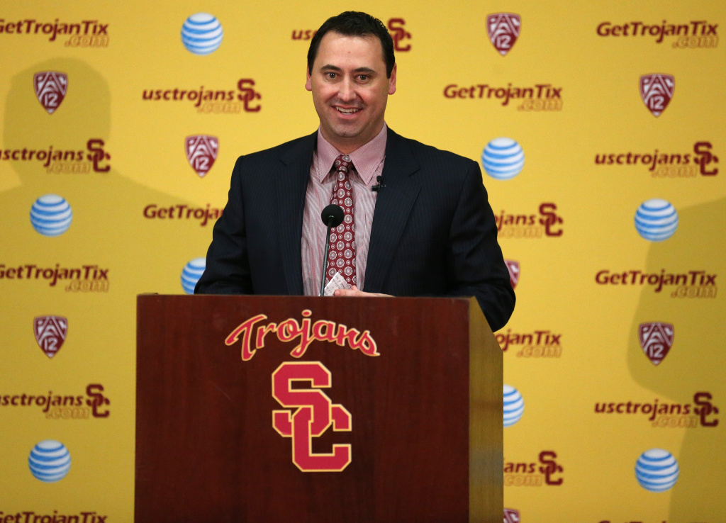 Steve Sarkisian speaks at a press conference introducing him as the new USC  head football coach at the John McKay Center at the University of Southern California on December 3, 2013 in Los Angeles, California.