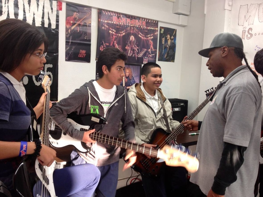 Rock Band Workshop, an after school program at LeConte Middle School in Hollywood, is funded by the California Arts Council.