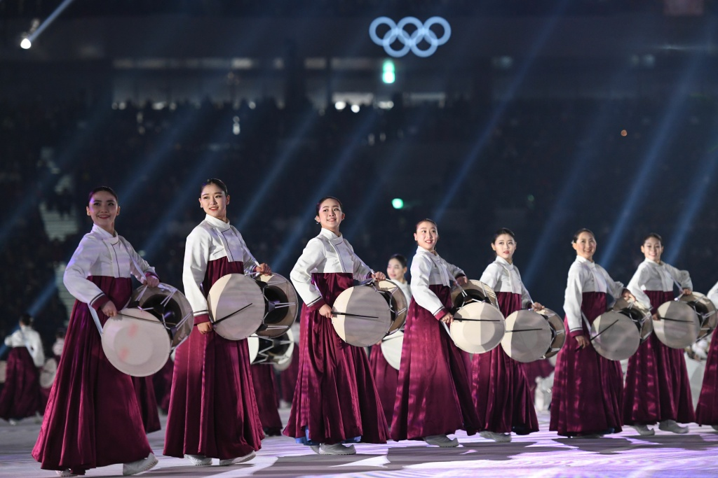Actors perform during the Opening Ceremony of the Pyeongchang 2018 Winter Olympics on February 9, 2018.