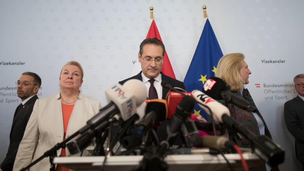 Austria's Vice Chancellor and chairman of the Freedom Party, Heinz-Christian Strache, announces his resignation at a press conference in Vienna on Saturday, following a video scandal.