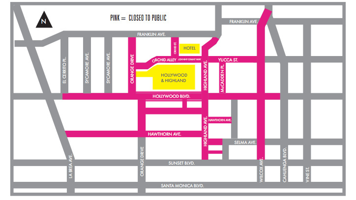 Hollywood Boulevard will be closed between Highland Avenue and Orange Drive beginning at 10 p.m. on Sunday, February 15, and remain closed until 6 a.m. on Tuesday, February 24.