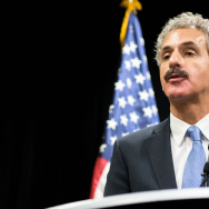 File: Los Angeles City Attorney Mike Feuer speaks to the press during the inaugural National Prosecutorial Summit on Tuesday, Oct. 21, 2014.