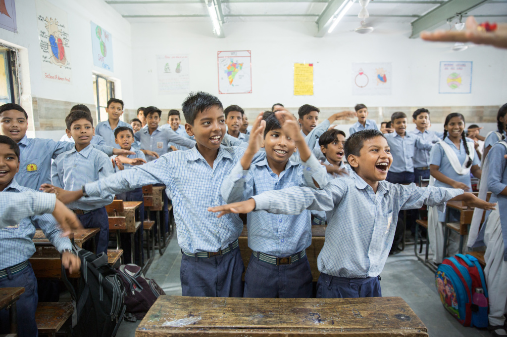At Senior Secondary School in New Delhi, India, this month, students engage in creative activities as a part of newly launched program by the Delhi government to shift emphasis onto mental health well-being.