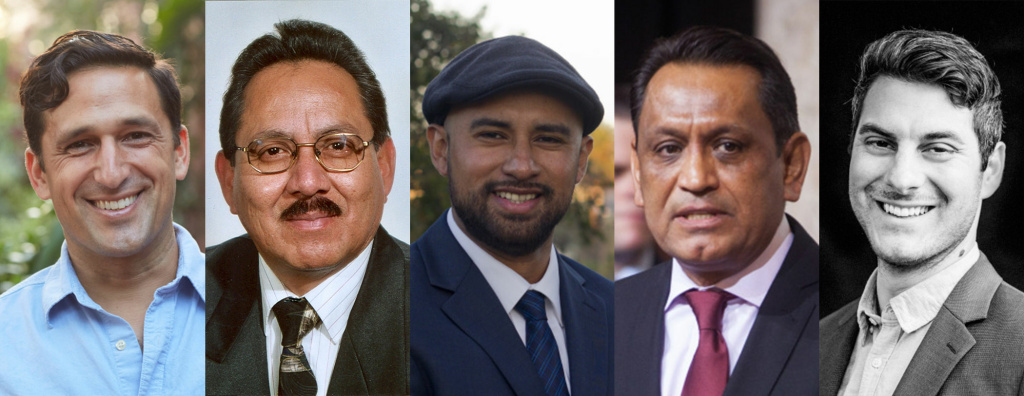 L-R: Joe Bray-Ali, Jesse Rosas, Giovany Hernandez, Gil Cedillo and Luca Barton are all running for Los Angeles City Council District 1.