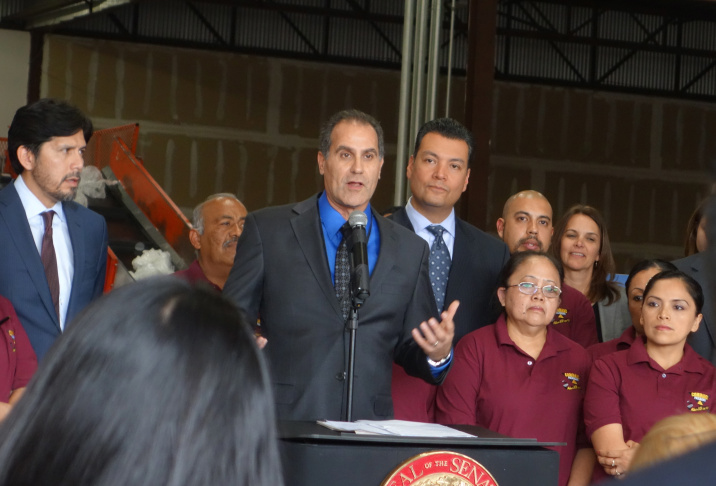 Sen. Alex Padilla (D-Pacoima) announced that Sen. Kevin de Leon (D-Los Angeles), left, and Sen. Ricardo Lara (D-Huntington Park) now support a bill to ban single-use plastic bags statewide.