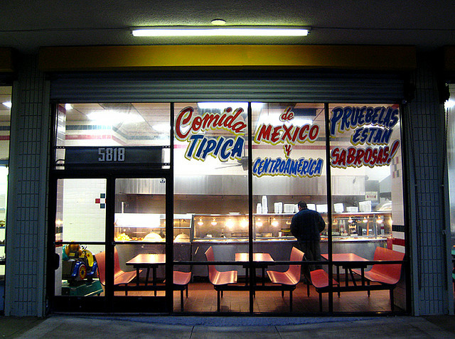 A Los Angeles eatery advertises Mexican and Central American food. According to the 2010 census, Los Angeles County is home to the nation's largest communities of Salvadoran and Guatemalan immigrants.