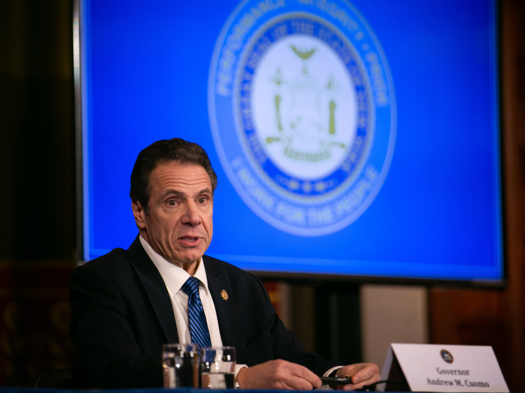 New York Gov. Andrew Cuomo, seen in April, says the state's daily hospitalizations and deaths are down dramatically.