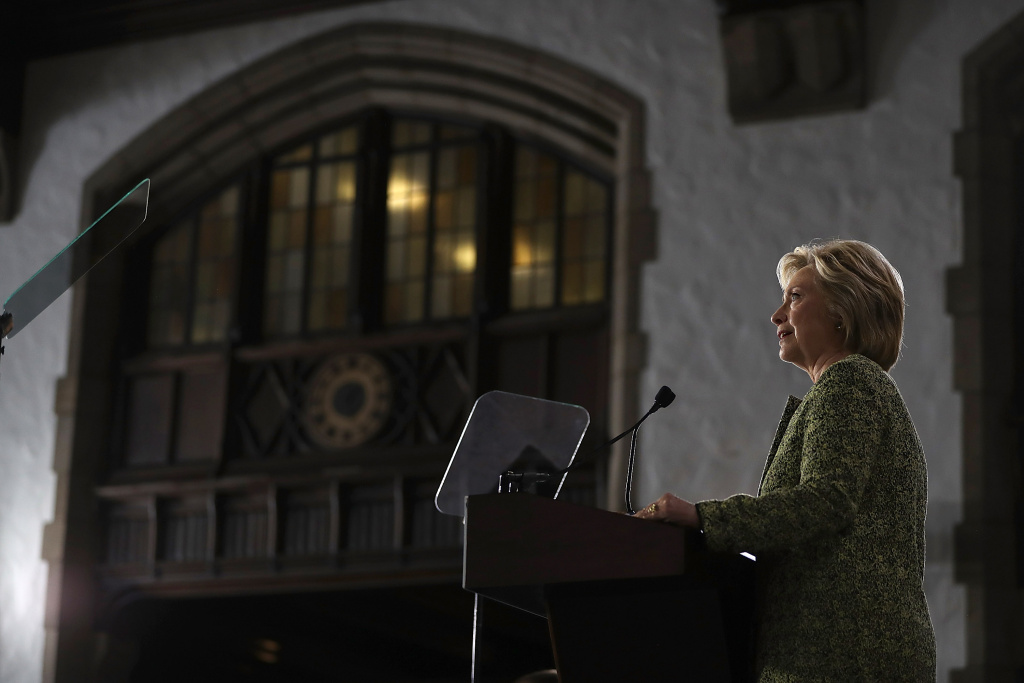 Democratic presidential nominee former Secretary of State Hillary Clinton delivers a speech at Temple University on September 19, 2016 in Philadelphia, Pennsylvania.