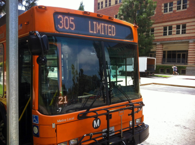This sign lets people know about the 305 bus line being discontinued as part of widespread service changes by L.A. Metro.