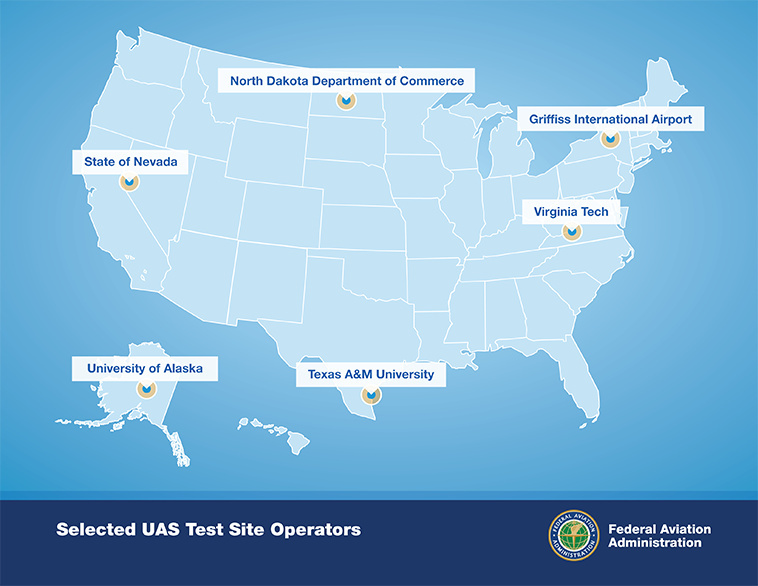 The Federal Aviation Administration's map showing the locations of the six