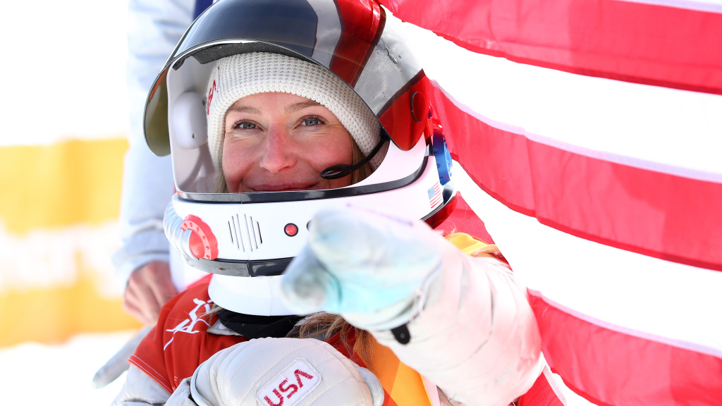 Gold medalist Jamie Anderson of the United States celebrates during the victory ceremony for the snowboard slopestyle, at the Pyeongchang 2018 Winter Olympics.
