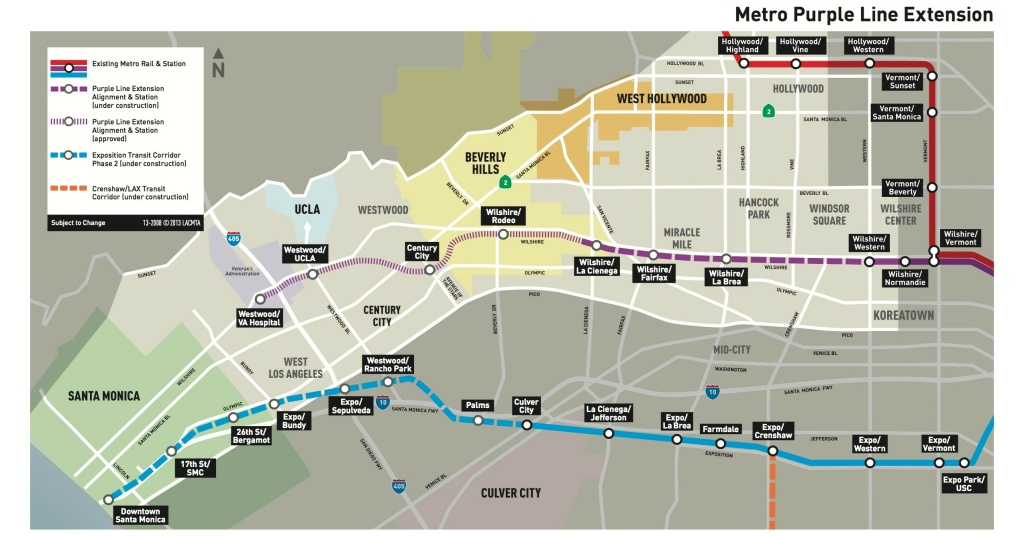 A map of the Purple Line Extension