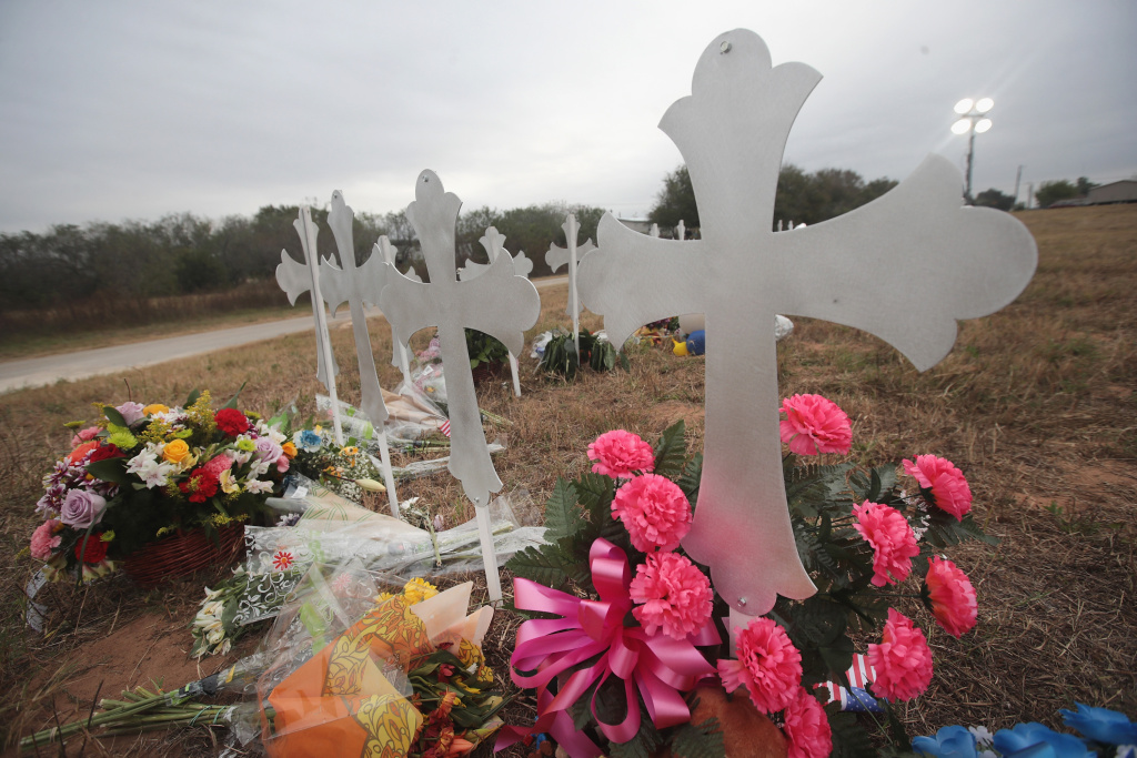 Twenty-six crosses stand in a field on the edge of town to honor the 26 victims killed at the First Baptist Church of Sutherland Springs on November 8, 2017 in Sutherland Springs, Texas.