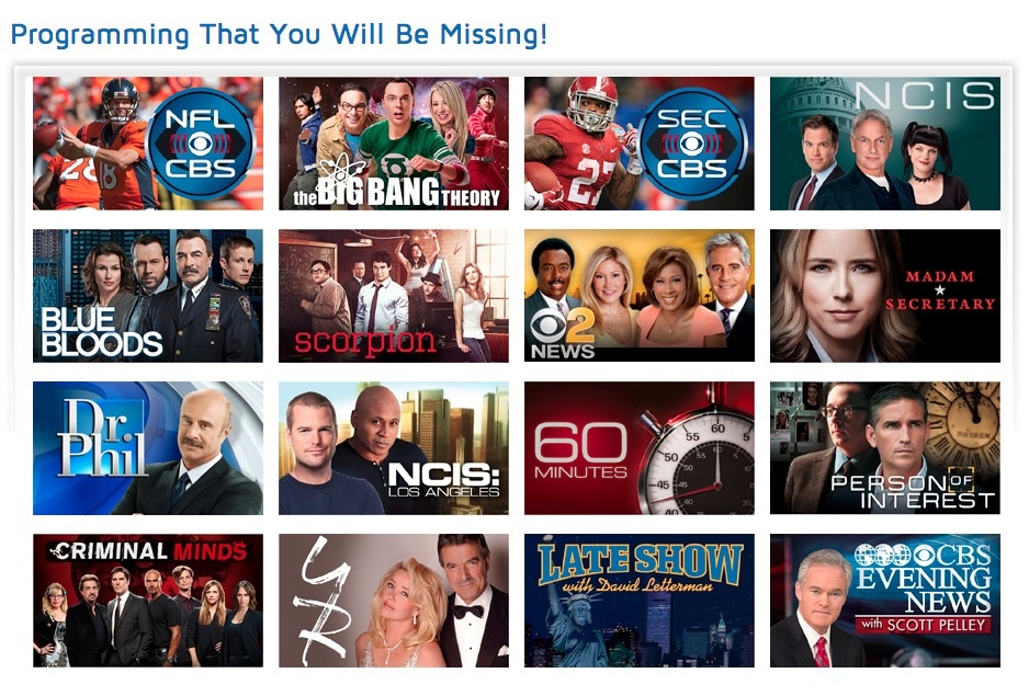 CBS programming pulled from Dish Network due to contract