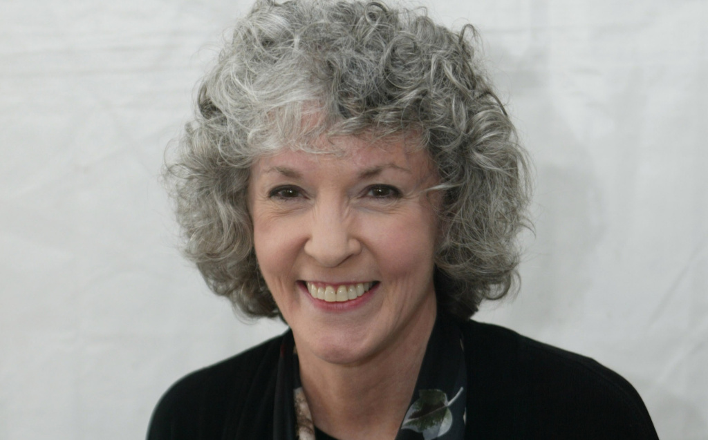 Author Sue Grafton poses at the 10th annual Los Angeles Times Festival of Books at UCLA on April 23, 2005 in Los Angeles, California.