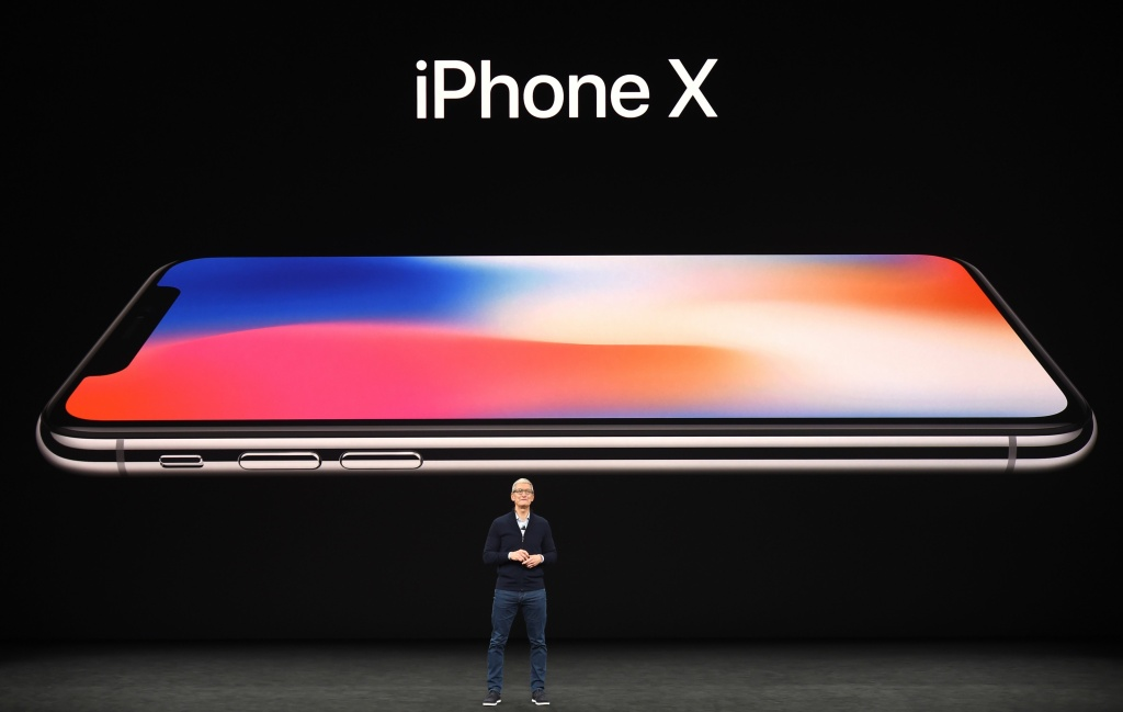 Apple CEO Tim Cook speaks about the new iPhone X during a media event at Apple's new headquarters in Cupertino, California on Sept. 12, 2017.