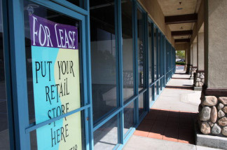 Retail space for lease in a strip mall is advertised on October 8, 2009 in Fontana, California.