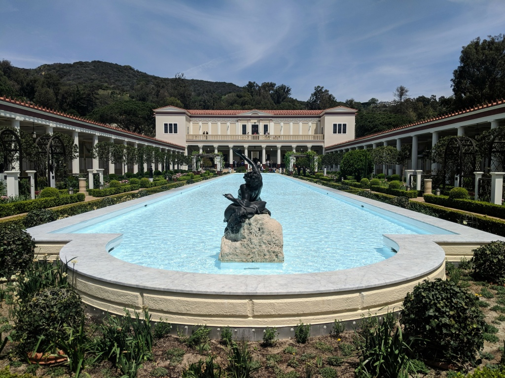 The central pool at the Getty Villa splashes with water again. The pool was drained in 2014 because of drought conditions.