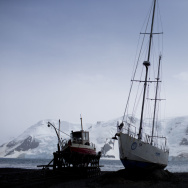 Boats sit on the beach at Bahia Almirantazgo in Antarctica. An agreement was reached on Friday to create the world's largest marine protected area in the ocean next to the frozen continent.