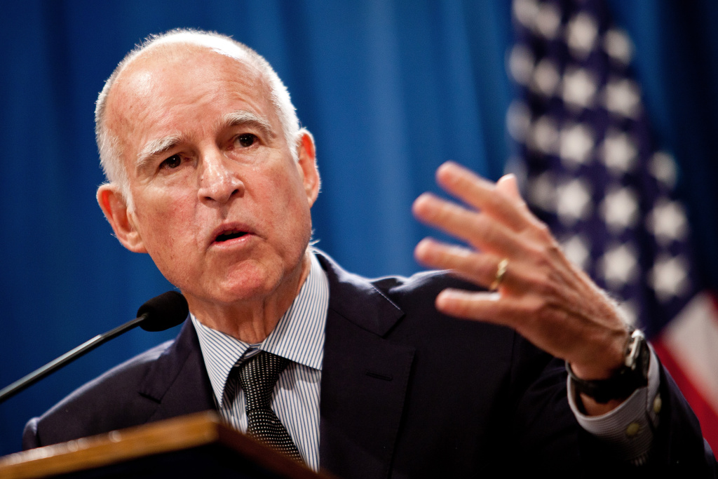 File: California Gov. Jerry Brown announces his public employee pension reform plan October 27, 2011 at the State Capitol in Sacramento.