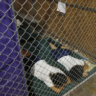 Two female detainees sleep in a holding cell as hundreds of mostly Central American immigrant children were being processed and held at the U.S. Customs and Border Protection Nogales Placement Center on Wednesday, June 18, 2014, in Nogales, Arizona. President Obama has requested emergency funding to help deal with the mass migration of unaccompanied minors and families arriving at the border from Central America.