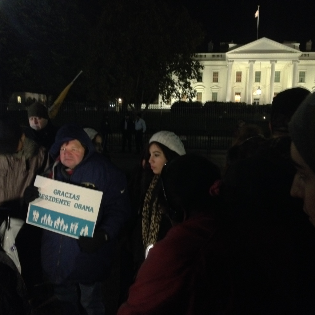Immigration reform supporters in front of the White House after President Obama's speech on Nov. 20, 2014. A federal judge has temporarily banned the Obama administration from implementing policies that would allow as many as five million people in the U.S. illegally to remain.