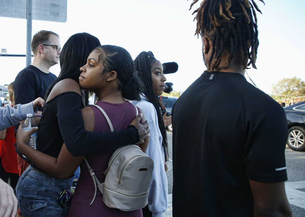 Marjory Stoneman Douglas High School staff, teachers and students return to school greeted by police and well wishers in Parkland, Florida on February 28, 2018.