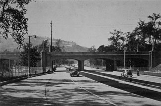 The Arroyo Seco Parkway at the Avenue 60 Bridge in Highland Park