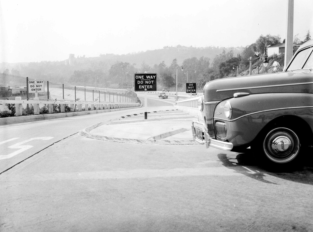 One-way signs that were placed on exit ramps after opening because people did not understand the concept of on-ramps and off-ramps, 1942.