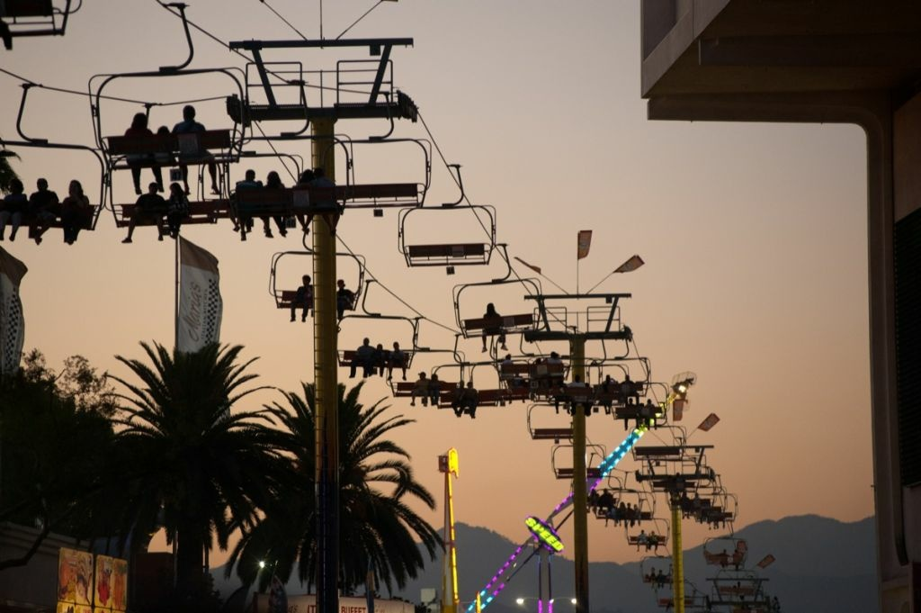 The L.A. County Fair sky ride at dusk.