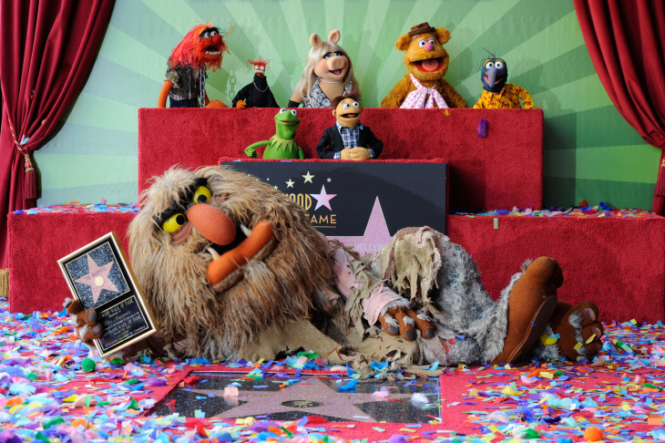 HOLLYWOOD, CA - MARCH 20:  The Muppets who were honored with 2,466th Star on the Hollywood Walk of Fame in front of the El Capitan Theatre on March 20, 2012 in Hollywood, California.  (Photo by Frazer Harrison/Getty Images)