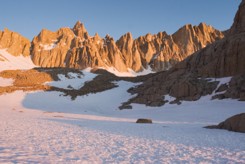 Mt, Whitney and eastern ramparts of High Sierra at sunrise