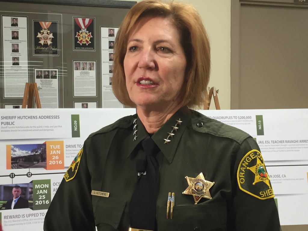Orange County Sheriff Sandra Hutchens is seen in a KPCC file photo. Hutchens announced Tuesday that she's retiring and endorsing Undersheriff Don Barnes to take over the 3,800-member department.