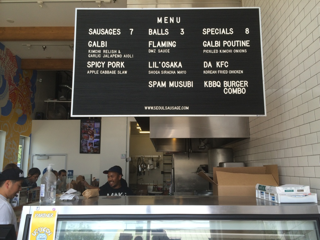 The menu board at Seoul Sausage in West Los Angeles.